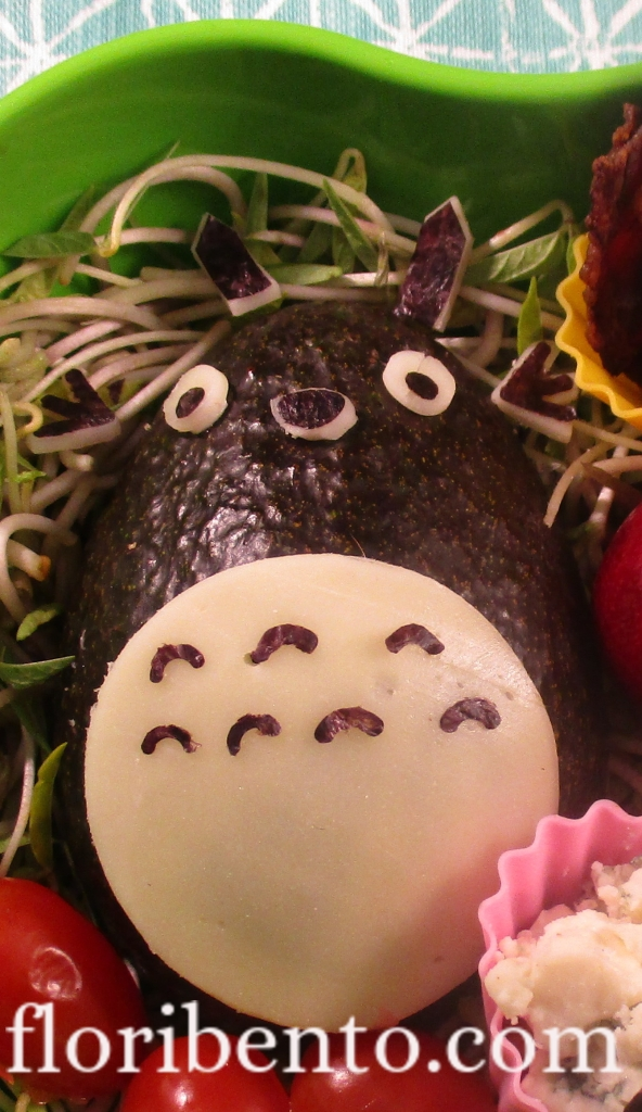 Totoro salad bento close-up