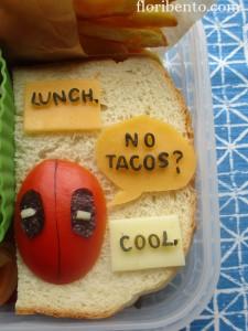 Deadpool sandwich bento close-up