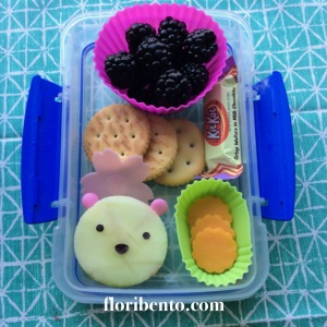 Bear snack bento close up