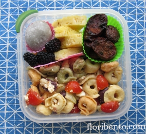 Pasta salad and sausage bento