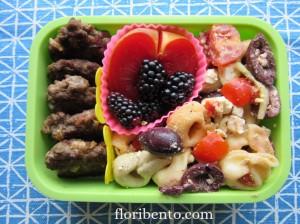 Pasta salad bento with mini renkon burgers