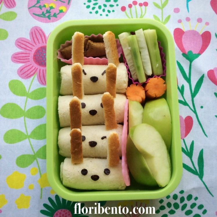 Bunny rolled sandwich snack bento