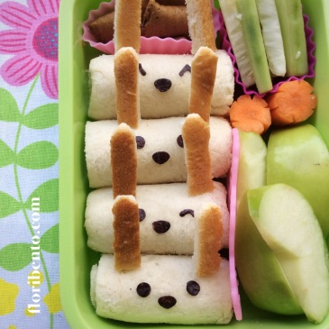 Bunny rolled sandwich snack bento - close up