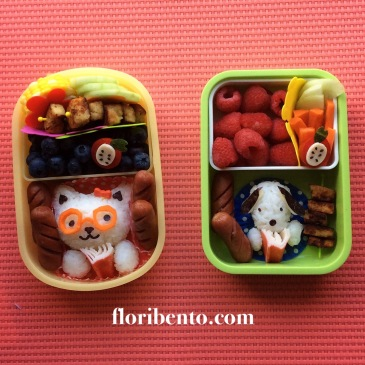 Reading animals back to school bento