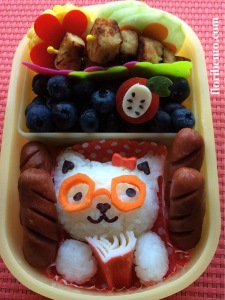 Back to school bento - reading cat close-up