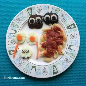 Totoro and soot sprite food art bento