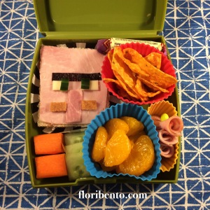 Dr. Trayaurus (or Minecraft villager) sandwich bento (from The Diamond Minecart)