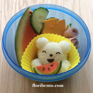 Happy watermelon bear snack bento